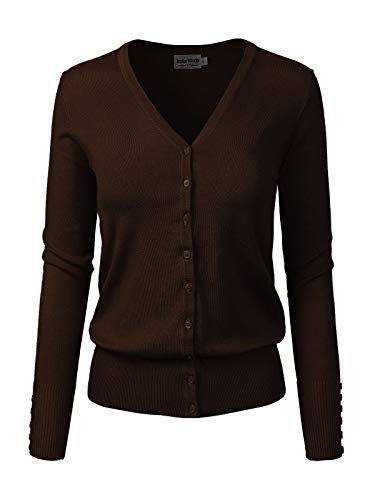 Design by Olivia Women's Classic Button Down Long Sleeve V-Neck Soft Knit Sweater Cardigan Brown M