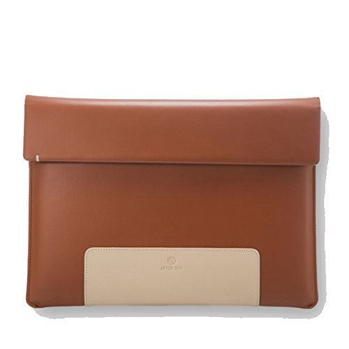 Afterten Two Tone Macbook Pro Retina 13 inch Ultrabook Leather Pouch Brown