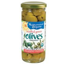 Mediterranean Organic, Olives Green Jalapeno Stuffed 8.5 Ounce