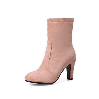 RTRY Zapatos De Mujer Cuero De Nubuck Primavera Otoño Moda Botas Botas Kitten Heel Toe Botas Mid-Calf Redonda Cremallera Para Boda &Amp; Vino Durante La Noche US7.5 / EU38 / UK5.5 / CN38