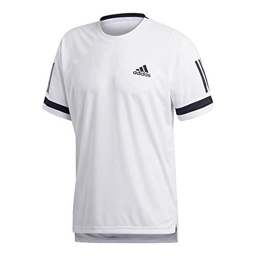 adidas Mens Tennis Club 3 Stripes Tee, White, Small