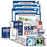 USA Learning Kit includes 4 Posters, 95 Flashcards, 58 Practice Book Exercises and 36 Reward Stickers - Learn about the US States, Presidents, Symbols, Flag and more