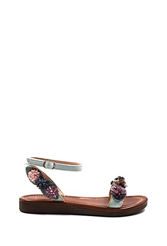 CHIC NANA Flat Sandals With Flower, Open Toe, Open Back. Blue