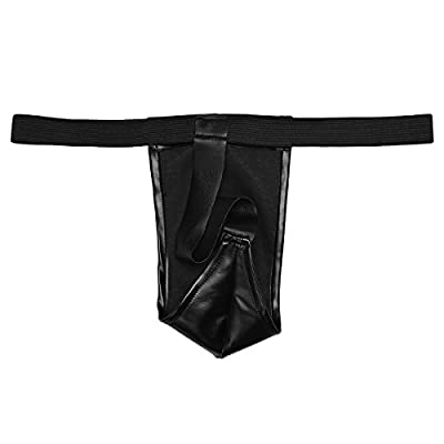 CHICTRY Men's Faux Leather Open Crotch Zipper Pants with G-string Clubwear Costume