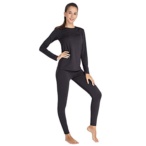 Thermal Underwear for Women Long Johns Set Fleece Lined Ultra Soft (Black, Medium)