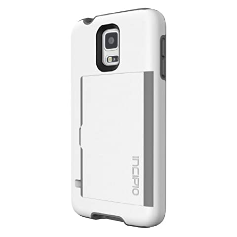 Incipio Stowaway Credit Card Case for Samsung Galaxy S5 - Retail Packaging - White/Gray (Incipio Phone Case For Galaxy S5)