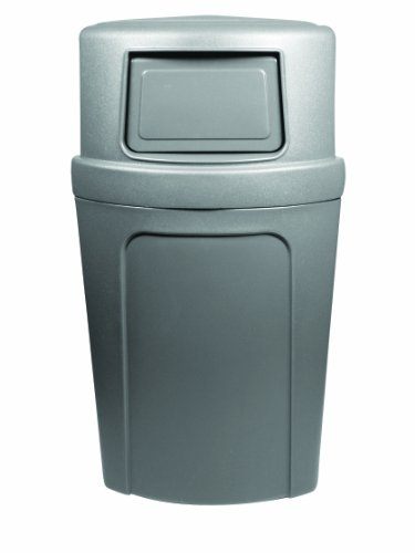 Continental 8325GY, 21-Gallon Dome-Top Corner'Round LLDPE Waste Receptacle, Quarter Round, Gray (Case of 1)