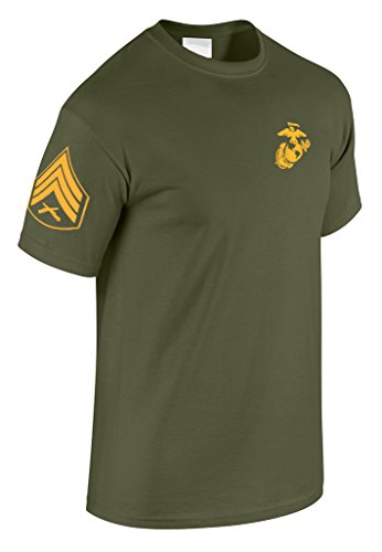 Marine Corps Military T-shirt - US Marine Corps Sergeant T-Shirt w/ Chevron on Sleeve (Medium, Military Green)