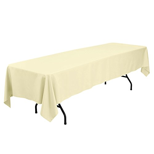 VEEYOO 60 x 126 inch Rectangular Solid Polyester Tablecloth for Wedding Restaurant Party Banquet Thanksgiving Reuseable, Light Yellow