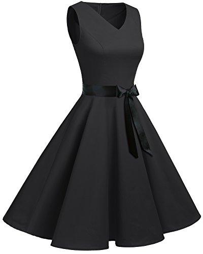 Negro Corto Vintage Sin Mujer Retro Vestido En Escote Bridesmay Mangas Pico v5gqx