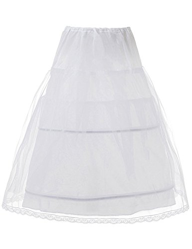 JCdress Kids Crinoline Petticoat Flower Girl Wedding Underskirt Slip (White) by JCdress