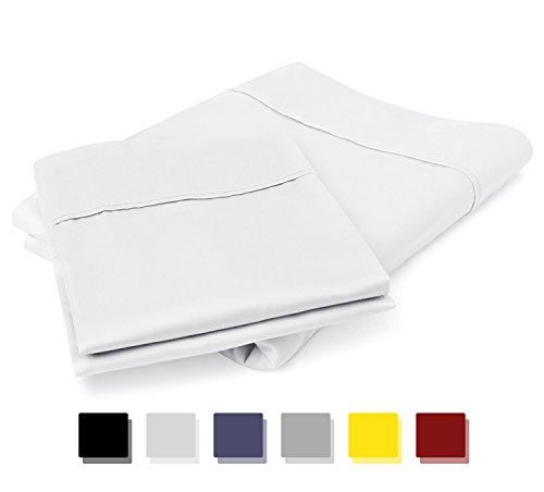 800 Thread Count 100% Egyptian Cotton Pillow Cases, White Standard Pillowcase Set of 2, Long-Staple Combed Pure Natural 100% Cotton Pillows for Sleeping, Soft & Silky Sateen Weave Bed Pillow ()