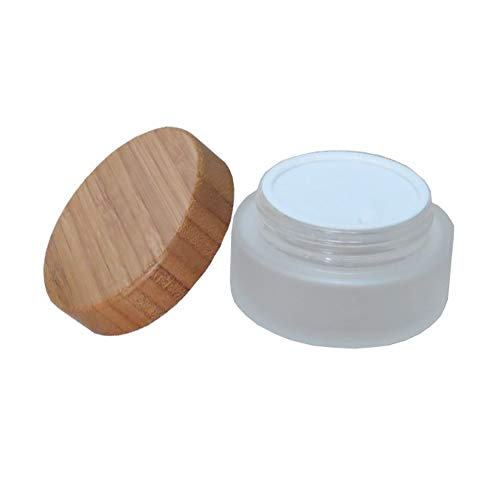1PCS 30ML 1OZ Refillable Frosted Glass Cream Bottle with Bamboo Lid and Inner Cover Lotion Cream Moisturizer Storage Holder Makeup Case Trial Sample Box Ointments Cosmetic Container Jar Vial Pot