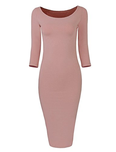 Dress Fit Aro 2 Women's Pink Slim Classic 1 Bodycon Lora Sleeve SrS0ZzH