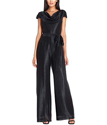(Tahari by Arthur S. Levine Women's Cap Sleeve Metallic Jumpsuit with Self Tie Belt, Black, 2)