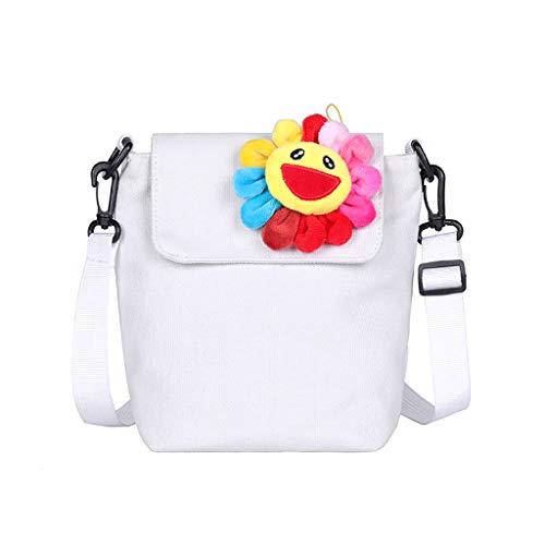 Shoulder Bag for Women,SIN+MON Ladies Girl Classic Joker Vintage Canvas Bag Cute Flower Leisure Crossbody Bag Messenger Bag