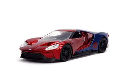 Jada Toys Metals Die-Cast Spider-Man 2017 Ford GT, 1:32 Scale Die-Cast Vehicle Red/Blue