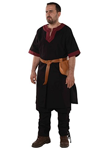 byCalvina - Calvina Costumes Loki Medieval Viking LARP Renaissance Linen-Look Cotton Mens Tunic-Made in Turkey -BLC/BRG M]()