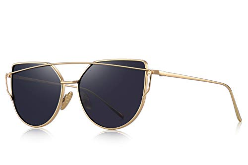 MERRY'S Classic Cat Eye Sunglasses For Women UV Protection eye glasses Coating Mirror UV400 S7882 (Gold&Black, ()