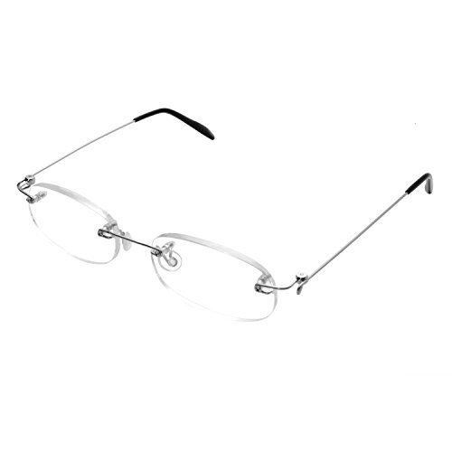 Rimless Reading Glasses Men & Women +3.0 (65-69 years), Mingus Metal Frame Eyewear Frameless Spectacle Vision Lens Unisex Type