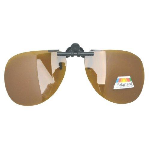 Eyekepper Pilot Polarized Flip up Sunglasses Clip on - Glasses On Amber Clip