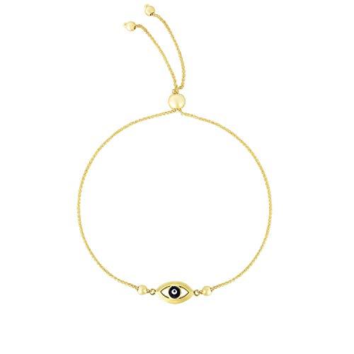 Amanda Rose Evil Eye Bolo Bracelet in 14k Yellow Gold (Adjustable)
