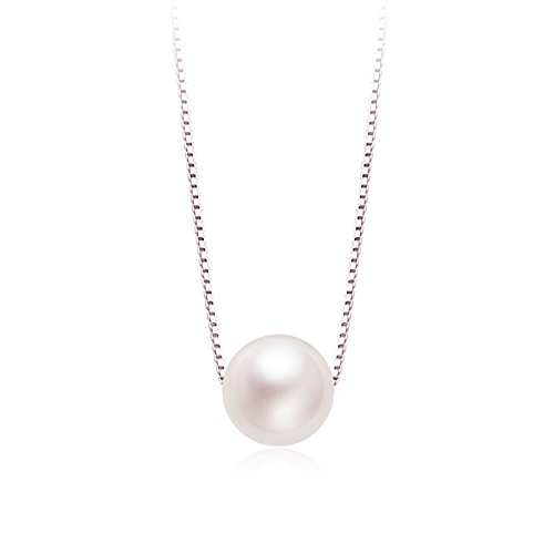 Shell And Bead Drop Necklace (Pearl Pendant Necklace, S925 Sterling Silver Chain Synthetic Shell Pearl Necklace Jewelry)