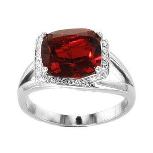 1001 Bijoux - Bague argent rhodié pierre rouge rectangulaire contour oxydes blancs sertis