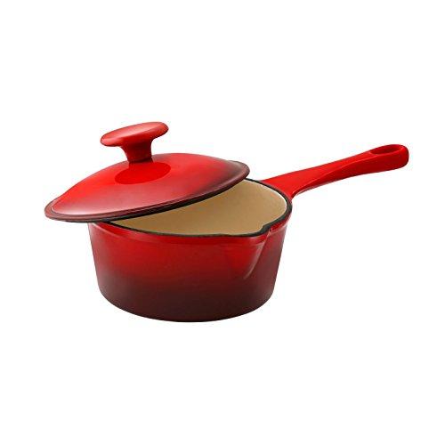 Le Cuistot Enameled Cast-Iron 1.3 Quart Saucepan with Pouring Spout - 2 Tone Red