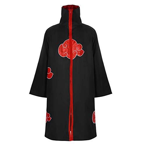 (FEESHOW Unisex Naruto Akatsuki Halloween Cosplay Costume Uniform Cloak Black)