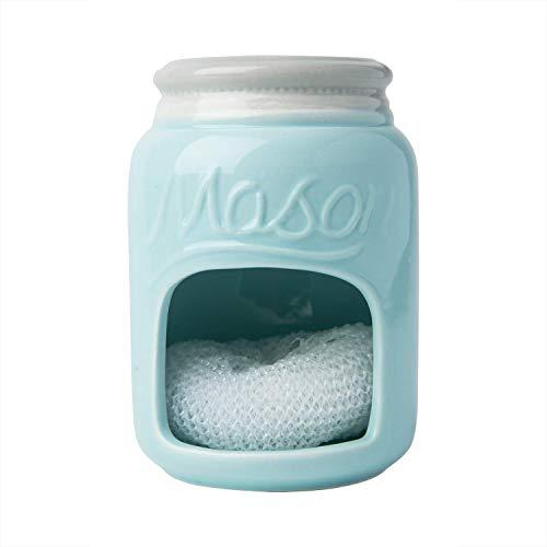 Ceramic Kitchen Sponge Holder Sink Caddy - Kitchen Décor And Accessories Farmhouse Style - Country Kitchen Sink Décor Rustic- Mason Jar Décor Sponge Holder - Scrubby Holder- Aqua Blue ()