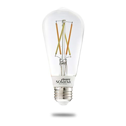 Bulbrite Solana ST18 WiFi Connected Edison Filament LED Smart Light Bulb, 60 Watt Equivalent, Clear