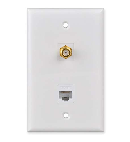 Coax Ethernet Wall Plate, HTTX White F Connector Punch Down CAT6 Wall Plate with Removable F/F F-Type and RJ45 Keystone Jack Inserts (Punch 75)