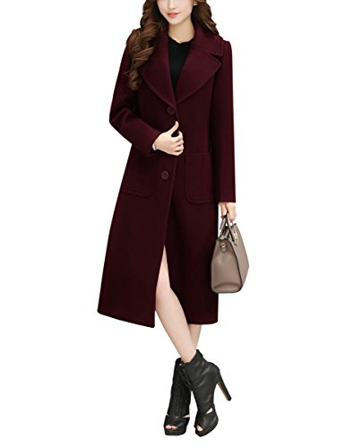 - Yimoon Women's Single Breasted Notch Lapel Long Trench Coat Wool Blended Overcoat (Wine, Medium)
