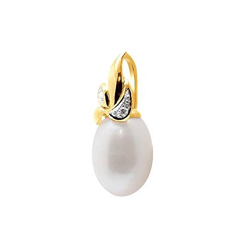Pendentif Perle de Culture d'eau douce Blanche, Diamants et Or Jaune 375/1000 -Blue Pearls-BPS K241 W BLC