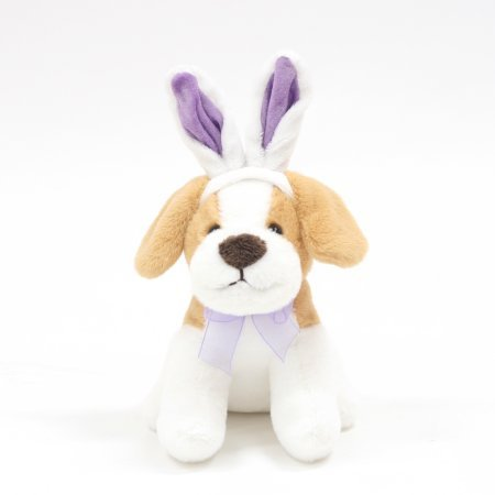 Cute Easter Puppy Wearing Bunny Costume: Light Brown and White