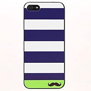 Stripe and Mustache Pattern PC Hard Case for iPhone 5/5S