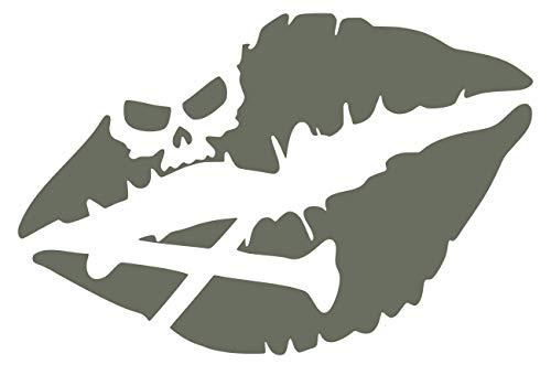 Gry Skull Crossbones Kiss of Death Lips Decal Vinyl Sticker Graphics for Cars Trucks SUV Vans Walls Windows Laptop|Gray|5.5 X 4 Inch|URI340-G (Little Minerals Kisses Lipstick)
