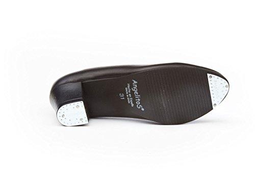 ANGELITOS Zapatos Sevillana Profesional Piel Negro Punta Tacón Metálicos, Mod.303, Calzado Made In Spain.