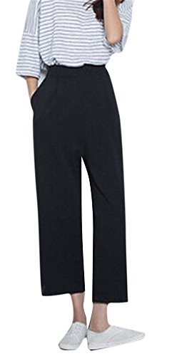 [Youtobin Women's Stretch Skinny Wide Waistband straight Cropped Pants M Black] (Stretch Twill Straight Leg Cropped Pants)