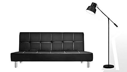 Divano letto 3 posti 180x80 ecopelle nero stile moderno recrinabile ...