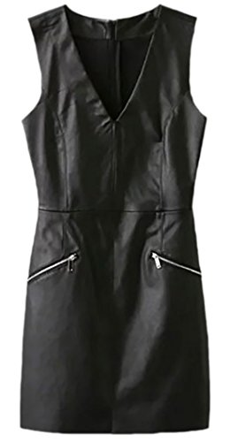 erdbeerloft - Damen Enges Kleid in Lederoptik, XS-L