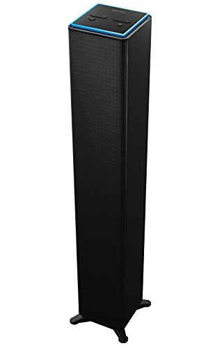 Sharper Image SWF2001BK Wall Powered Amazon Alexa Bluetooth Tower Speaker with Far Field Voice Control, Voice Controled Smart Floorstanding Tower Speaker with WiFi, Ask Alexa Anything You Want