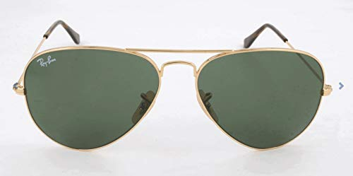 Ray-Ban RB3025 Aviator Sunglasses, Gold/Crystal Green, 58 ()