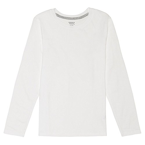 French Toast Boys' Long Sleeve Crew Neck Tee,White,10/12