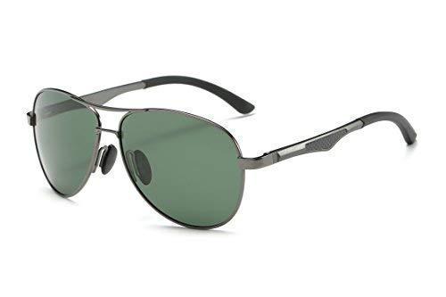Mondpalast MPTECK @ Gafas de Sol Hombre Polarizadas Aviador clásico polarizado Gunmetal/Verde Oscuro Gafas de Sol Aviador con el Caso UV 400 Protección Estuche y pañuelo
