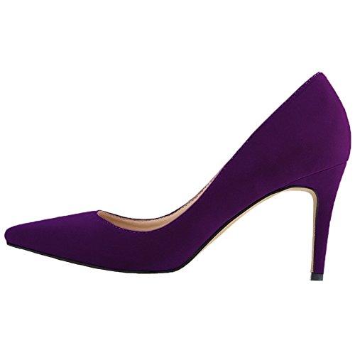 Travail Daim Mariage Chaussures HooH Pointu Escarpins Violet Femmes De De qP4wq0B