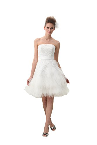 UnionFashionLi Knee Length White Cocktail Lace Wedding Dress With Removable Tail