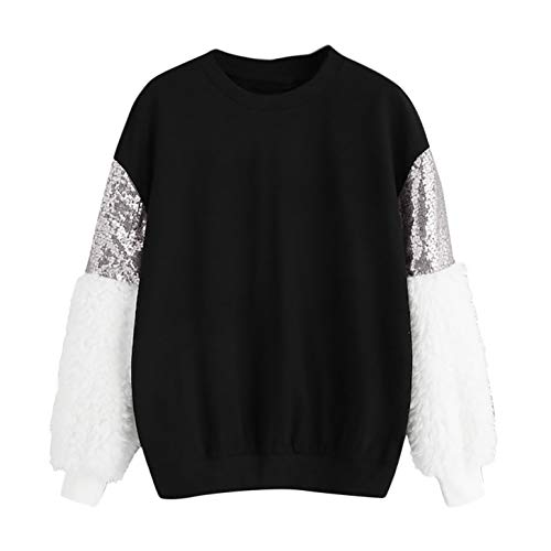 TIFENNY Fashion Sweatshirt Women's Patchwork Blings Sequins Fluffy Color Block O-Neck Pullover Loose Tops (Grey Bling Basic)