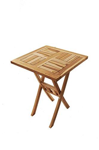 SAM® Teak-Holz Balkontisch, Gartentisch, Holztisch Square, 60 x 60 cm quadratisch, zusammenklappbarer Tisch aus Massivholz, leicht zu verstauen